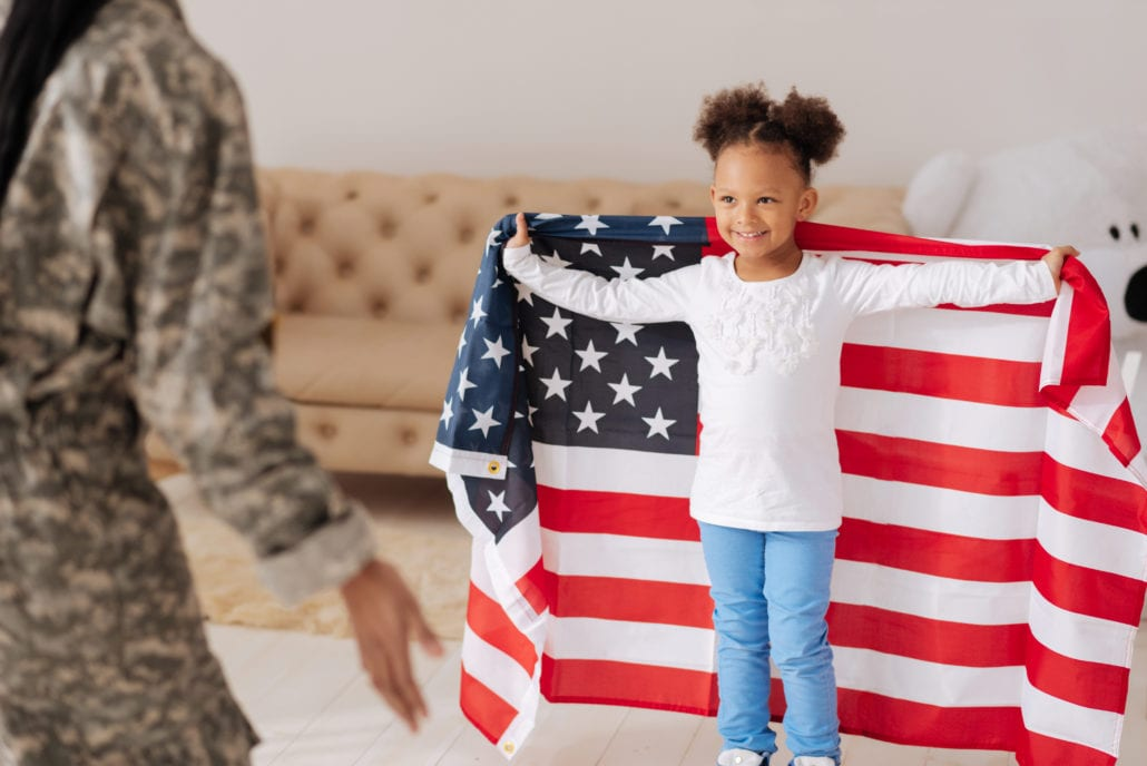 little with american flag